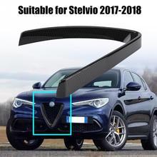 Alfa Romeo Stelvio için 2017 2018 karbon Fiber ABS araba yarış izgaralar ön izgara koruyucu krom çerçeve Trim araba Styling