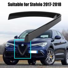 For Alfa Romeo Stelvio 2017 2018 Carbon Fiber ABS Car Racing Grills Front Grill Protective Frame Cover Trim Car Styling