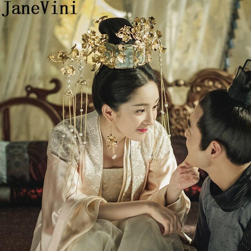 JaneVini 2018 Chinese Hair Styles Jewellery Yang Mi Bridal Headdress Wedding Hair Accessories Long Tassel Crown