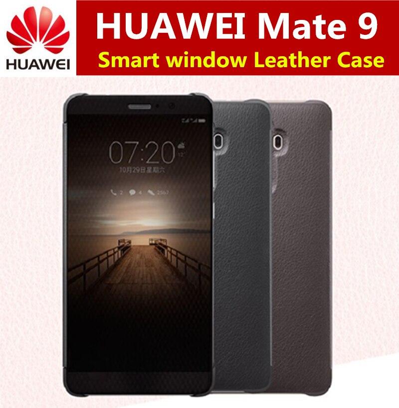 """imágenes para 100% Oficial Original de Huawei Mate 9 Caso de Lujo ventana Inteligente Flip Funda de Cuero Para huawei mate 9 Cubierta de la Caja del teléfono coque (5.9 """")"""