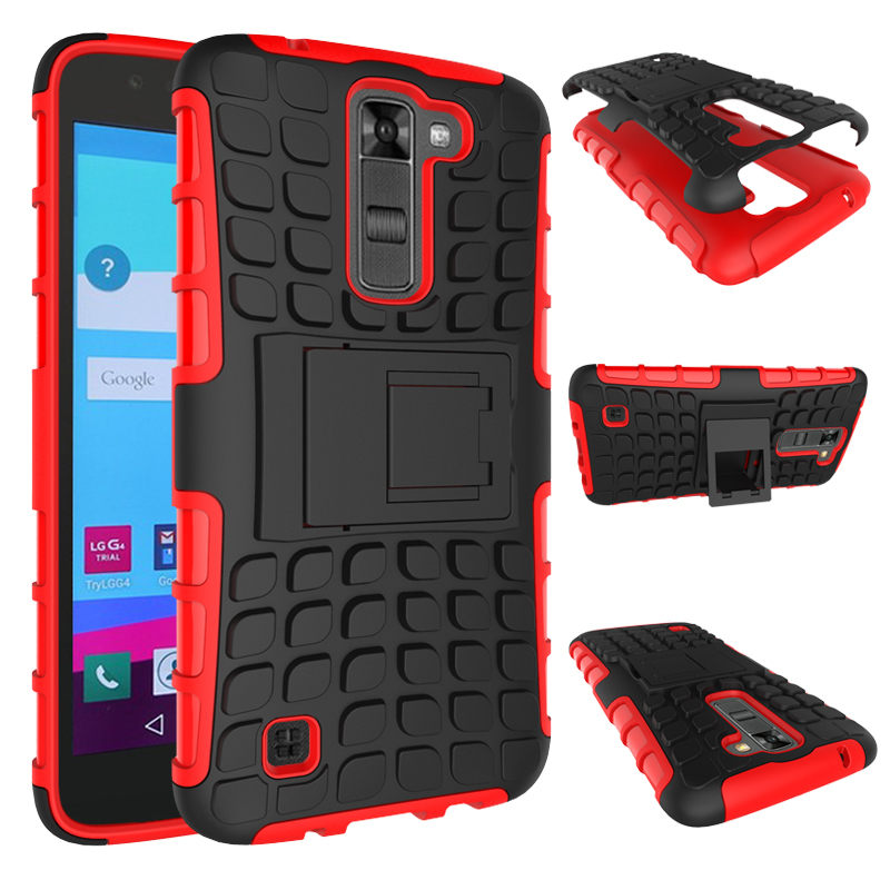 For LG K7 X210 X210DS LGK7 5.0 inch Case Heavy Duty Armor Shockproof Hard PC Plastic Soft TPU Silicone with Stand back Cover