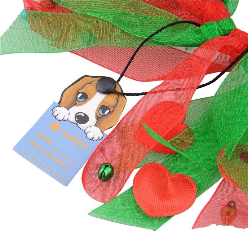 Kleurrijke Honden Halsband met Bell Kerst Zijden Lint Halsbanden - Producten voor huisdieren - Foto 4