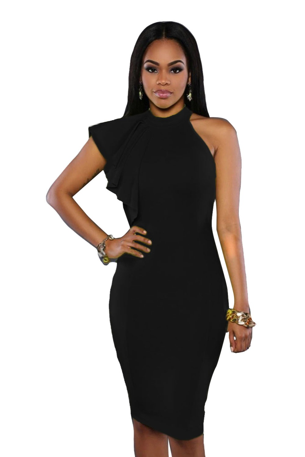 bc67231f Echoine One Shoulder Ruffle Sleeve Bodycon Dress New Asymmetrical  Black/White/Yellow Knee Length Midi Party Dresses Vestidos-in Dresses from  Women's ...