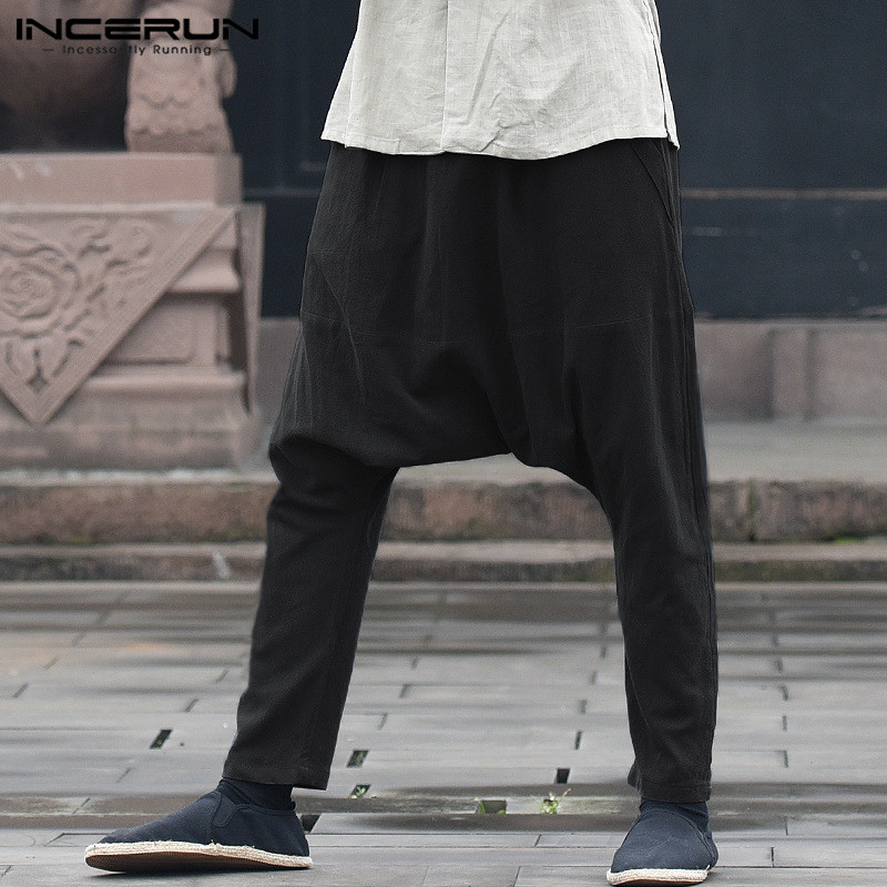 INCERUN 2020 Men's Harem Pants Solid Elastic Waist Drop Crotch Baggy Trousers Men Cotton Joggers Casual Hip-hop Long Pants S-5XL