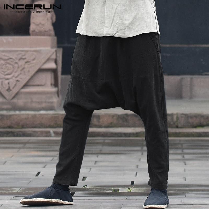 INCERUN 2020 Men's Harem Pants Solid Elastic Waist Drop Crotch Baggy Trousers Men Cotton Joggers Casual Hip-hop Long Pants S-5XL