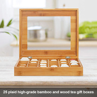 Economical 25 Slots Bamboo Wood Portable Tea Coffee Storage Box for Kitchen ds99