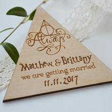Персонализированные Гарри Поттер всегда Свадьба деревянные сохранить дату магниты подарки на вечеринку, помолвку компании подарки приглашения вставки