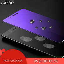 IMIDO Full Coverage for Huawei P10 Lite Plus Anti Blue Tempered Glass P 10 Blue-ray Screen Protector Film