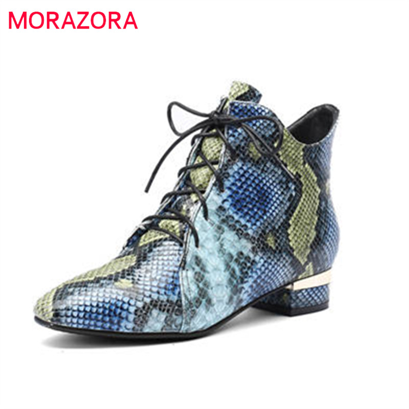 MORAZORA 2018 new fashion shoes woman pointed toe autumn winter boots lace up elegant square heels boots popular ankle boots nasipal ankle boots metal fringe women boots square heels fashion pointed toe winter shoes tassels elegant booties woman c142