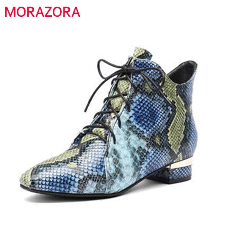MORAZORA 2018 nouvelle mode chaussures femme bout pointu automne hiver bottes lacets carré élégant talons bottes populaires bottines