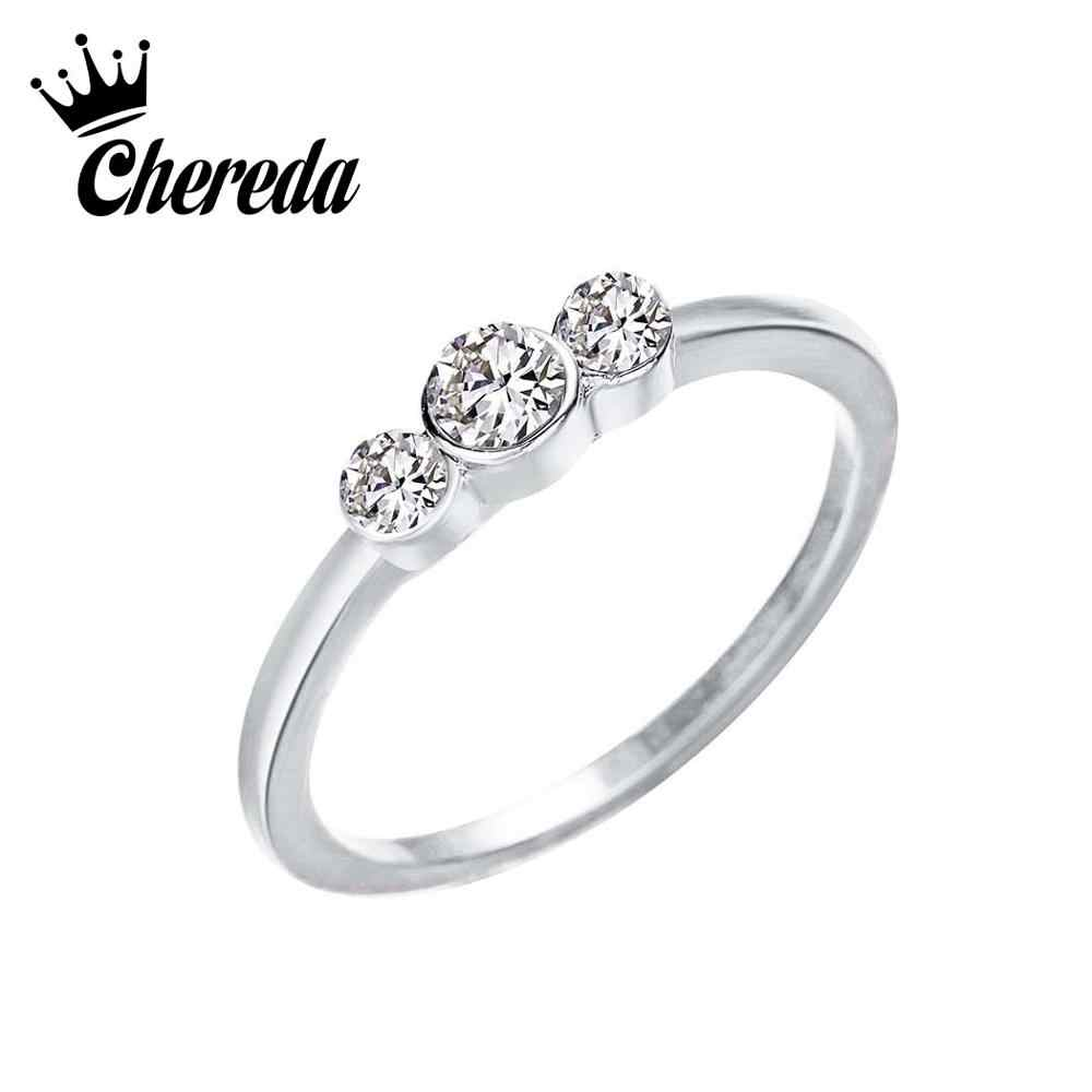 Chereda Vintage Round Simple Ring Engagement Geometric Crystal Zircon Trendy Jewelry Korean Style Knucle Rings Finger