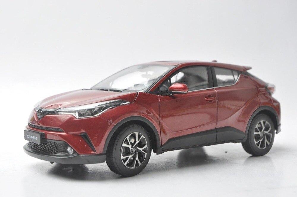 1:18 modèle moulé sous pression pour Toyota C-HR 2017 tout en alliage rouge et bleu jouet voiture Miniature Collection cadeaux CHR C HR