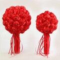 2016 Precioso Ramo de La Boda de dama de Honor Nupcial Rojo Broche de Flores de La Boda Ramos de Novia Flor de Rose Bouquet