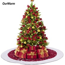 OurWarm 48inch Velvet Christmas Tree Skirt Red and White Snowflakes Xmas tree Skirt Carpet Party Ornaments New Year Decoration