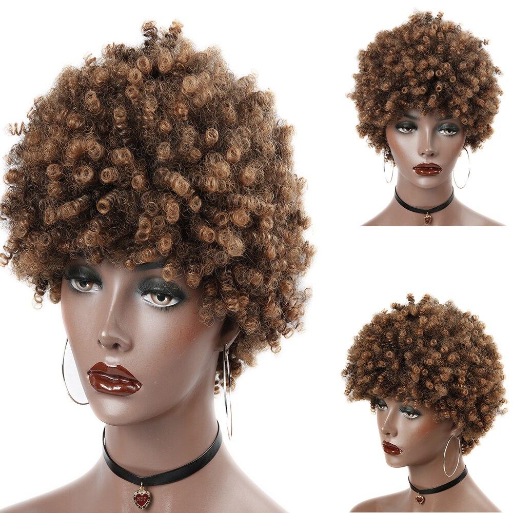 Fave Synthetische Perücke Afro Kinky-curly Mixed Schwarz Braun Blonde Farbe Für Schwarze Frauen Cosplay Hitze Beständig Faser Afrikanische Haar Kann Wiederholt Umgeformt Werden.
