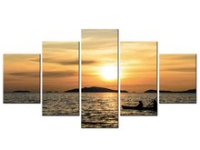 5 Panel Sunset Tropical Beach Ocean Sea Waves Art Silk Poster Print Skyline Landscape Wall Pictures Room Decor Framed J009-073(China)