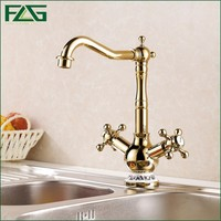 Double Handle Gold Plated Faucet For Vessel Basin