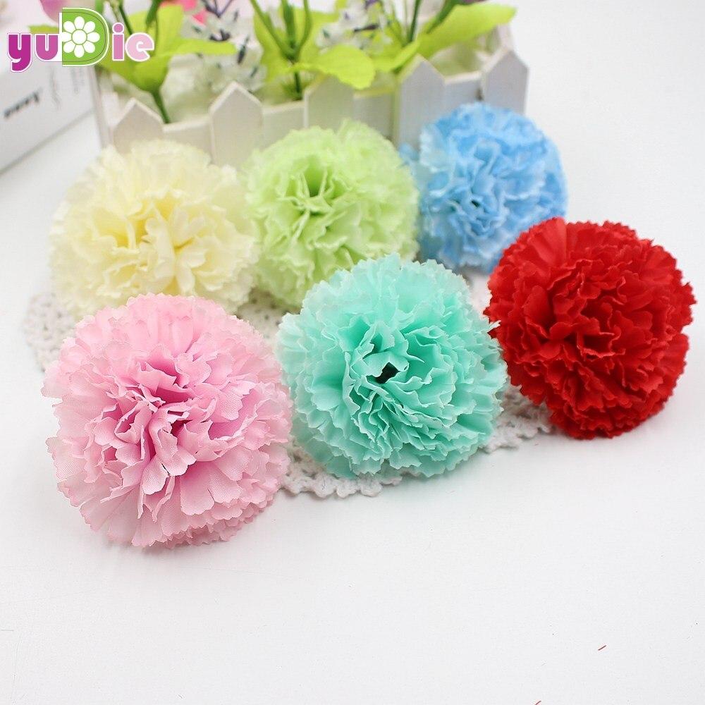 ⃝100 piezas flores artificiales baratos claveles de seda cabeza de ...
