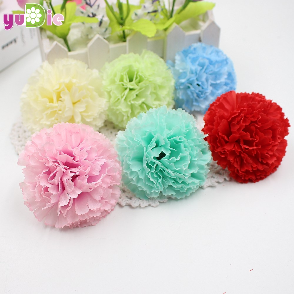 100pcs Artificial Flowers Cheap Silk Carnations Flower Head For