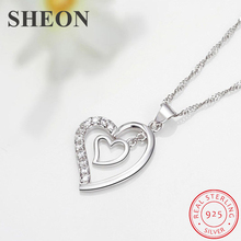 SHEON Heart Collection 925 Sterling Silver Simple Heart To Heart Zircon Pendant Necklaces For Women Sterling Silver Jewelry цена в Москве и Питере