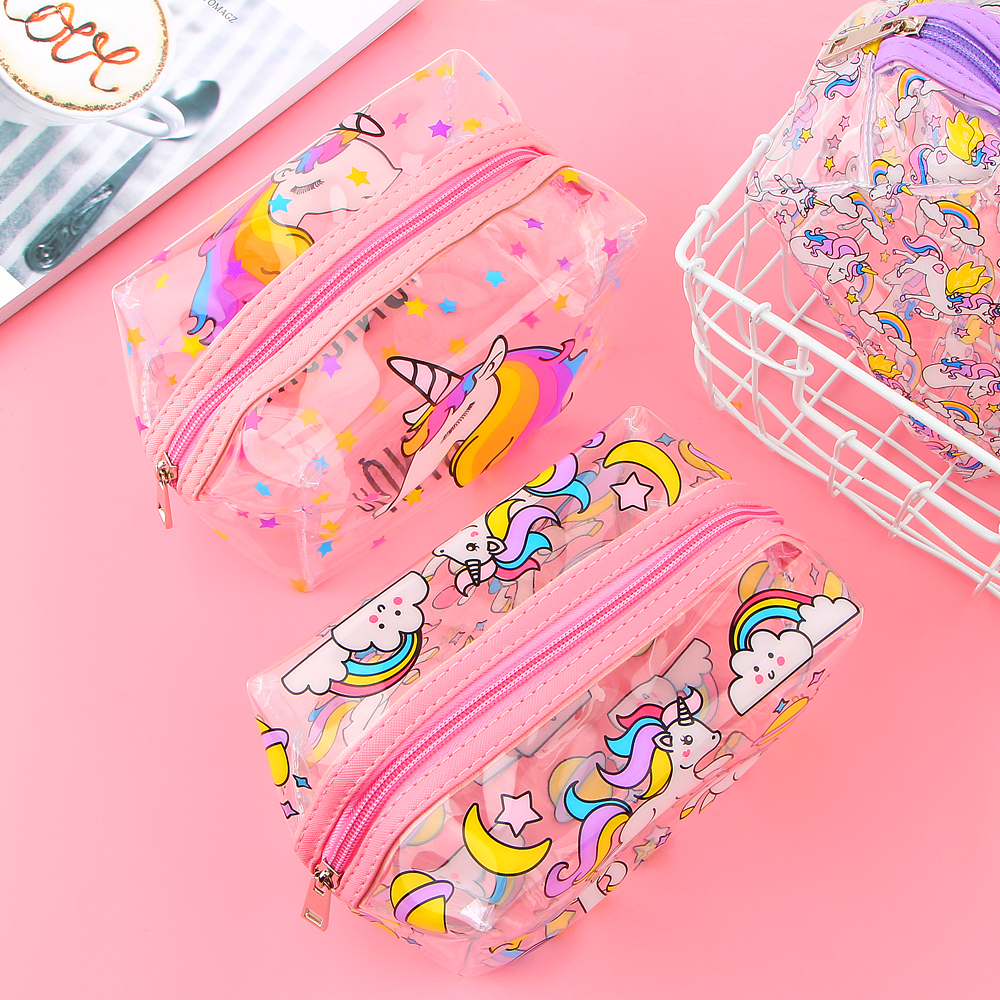 Unicorn Transparent Pencil Case Kawaii School Supplies Stationery Gift Cute Pencil Box Office School Tools Pencil Cases new arrival office school supplies pencil box wood pencil cases unique design wooden pencil cases b034