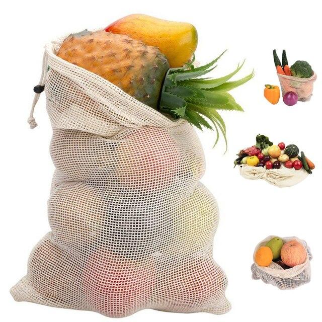 Reutilizáveis Sacos De Armazenamento Para Casa Cozinha Frutas Vegetais Sacos de Organizador De Armazenamento Sacos de Malha Com Cordão Lavável Cestas