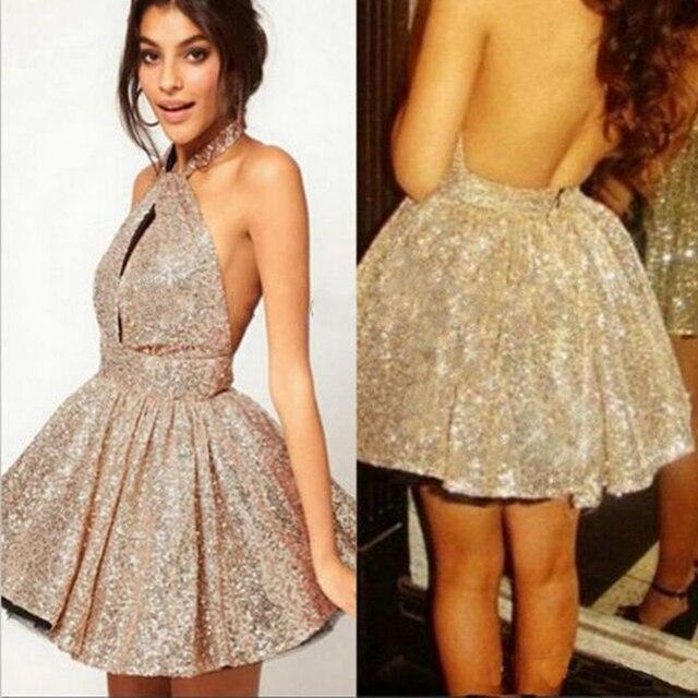 Sexy short gold dress