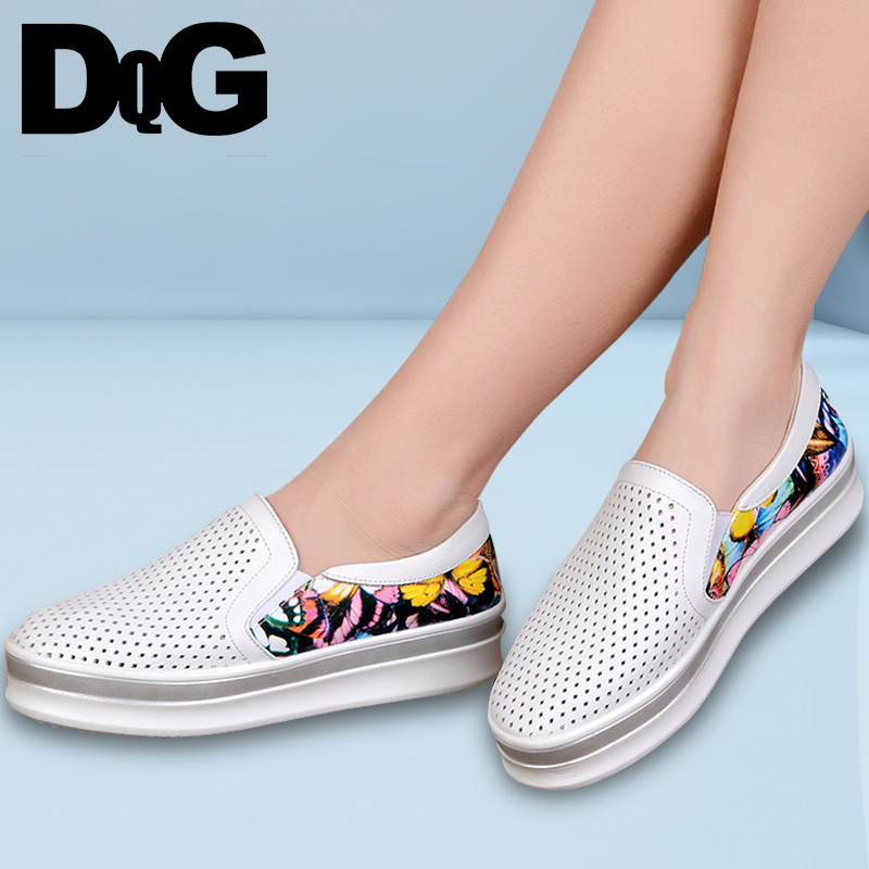 DQG 2018 Spring Casual Women Loafers Slip On Print Flat Platform Shoes Split Leather Shallow Polka Dot Breathable Ladies Shoes de la chance spring women flat platform loafers ladies split leather moccasins shoes woman lace up moccasin women s casual shoes