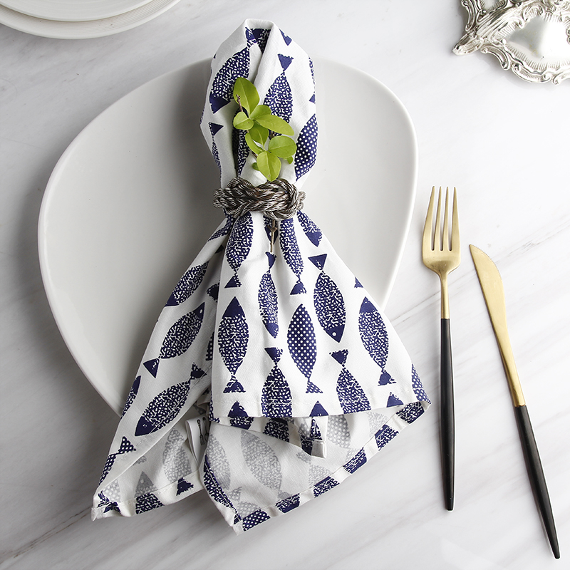 Restaurant Kitchen Towels aliexpress : buy the blue mediterranean fish printing cloth