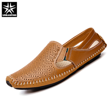 URBANFIND Casual Fashion Men Leather Driving Shoes Plus Size 45 46 47 Sewing Design Men Light Soft Loafers Slip-on Footwear