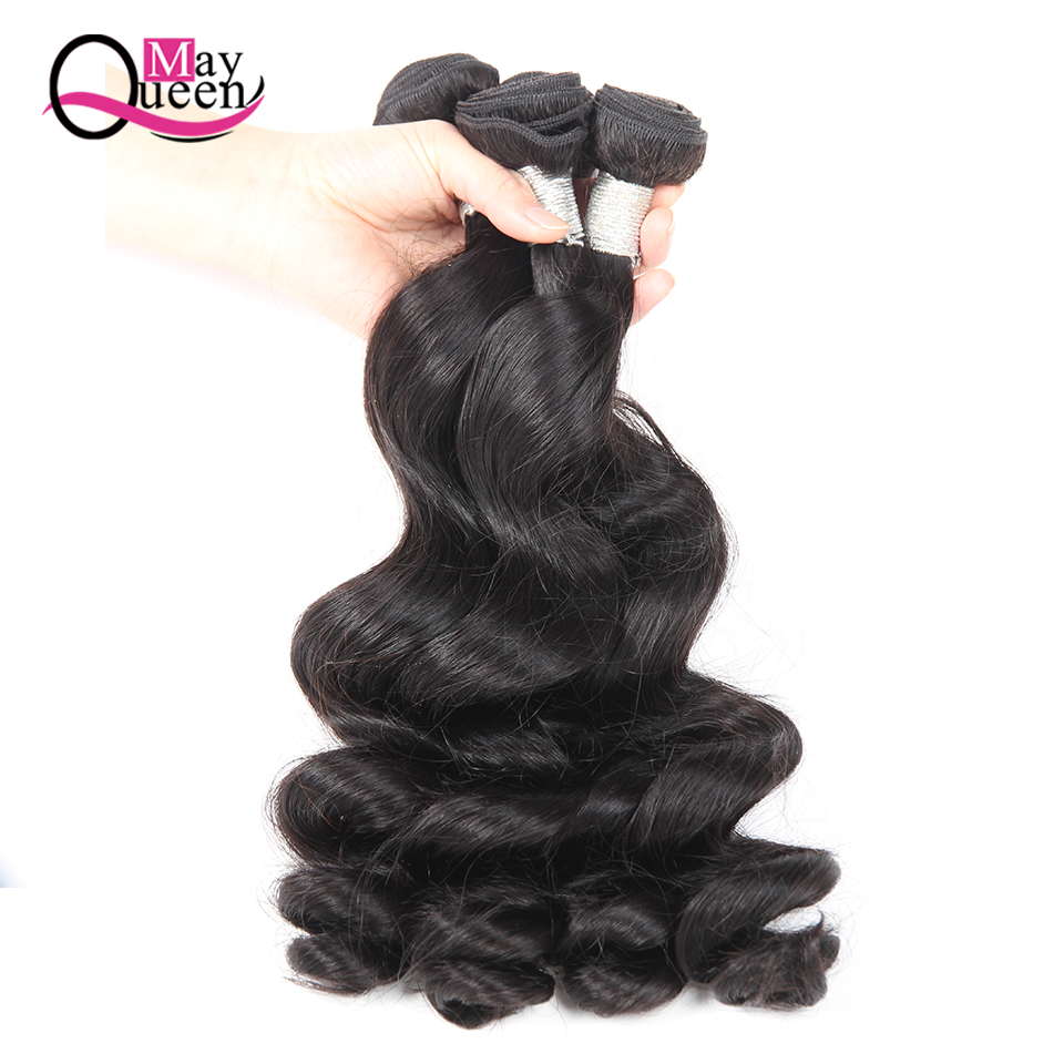 Maj Queen Hair 3 Bundles Malaysisk Loose Wave Human Hair Weave - Menneskehår (sort)