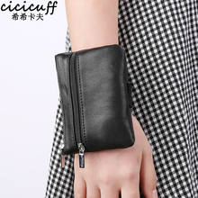 Coin Purse Ladies Small Wallet Change Purses for Women Genuine Leather Wrist Bag Sleeve Mini Zipper Pouch with Key Holder