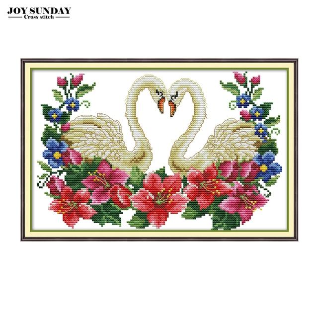 Joy Sunday Needlework DIY DMC Cross Stitch Animals Swan 14ct 11ct Canvas for Embroidery Stitch Counted Cross Printed Aida Fabric