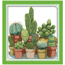 Cross-Stitch-Sets 11ct-Printed Patterns Chinese Cactuses Embroidery 14CT 2
