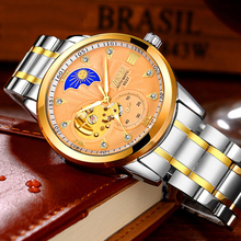 Men Mechanical Watch Top Brand Luxury Moon Phase Automatic Watch Man Waterproof Stainless Steel Skeleton Watches Montre Homme new binkada men mechanical watches big size leather watches luxury brand man watch moon phase calendar wristwatches