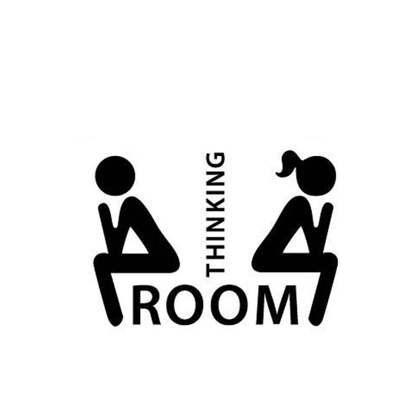 Verwijderbare denken kamer woondecoratie stickers s maat zwart kleur wc deur wc indicatie mark - Kleur wc ...