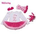 Regalo de cumpleaños lindo baby girl clothes 4 unids rosa de algodón de manga larga tutu dress mejores regalos trajes set pastel legging los zapatos de la venda caliente
