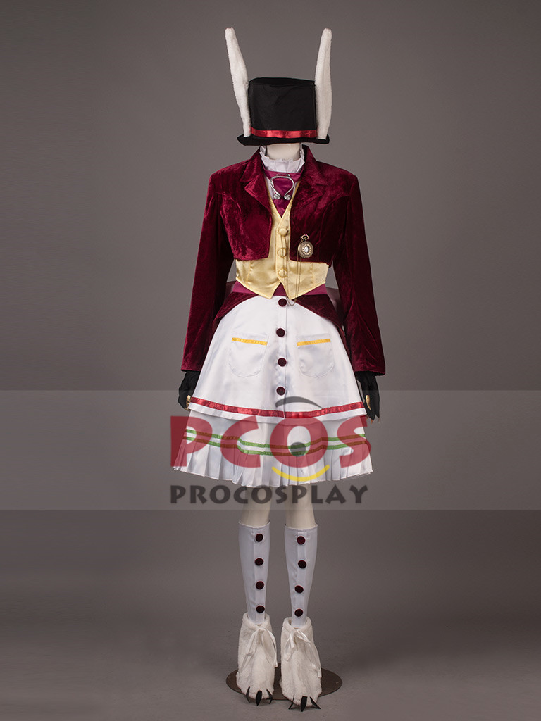Alice: Madness Returns Late But Lucky Cosplay Costume & Hat dark red velvet version mp000266