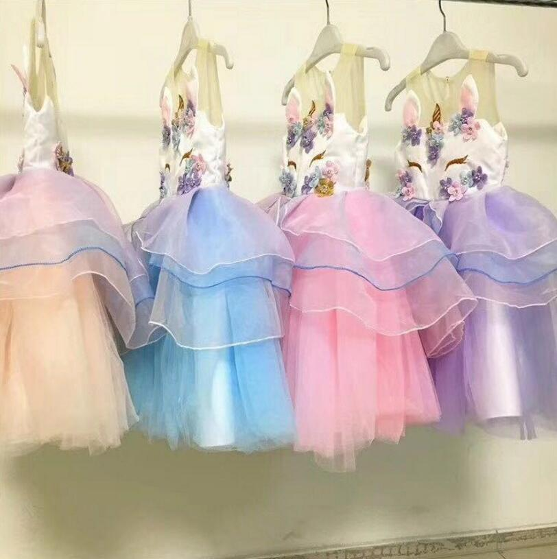 Hot New Retail Baby Girls Unicorn Beading Floral Mesh Tutu Dresses, Princess Kids Cosplay Flower Party Dress стоимость