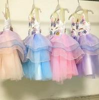 Hot New Retail Baby Girls Unicorn Beading Floral Mesh Tutu Dresses, Princess Kids Cosplay Flower Party Dress