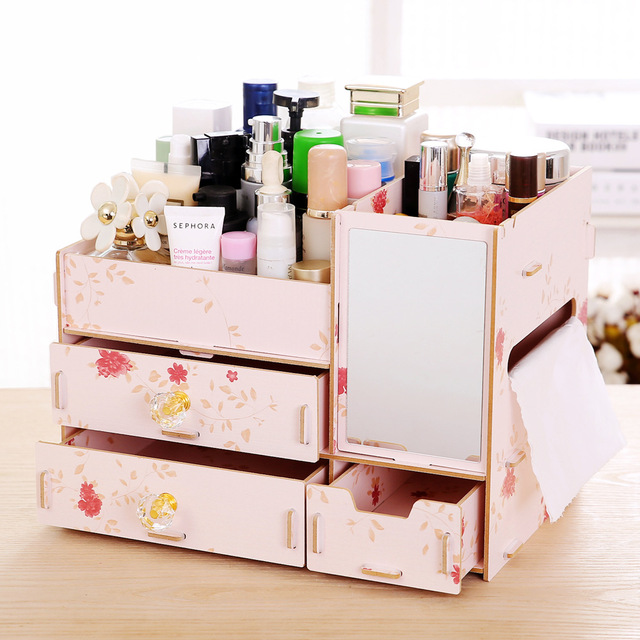 New L Size DIY Wood Cosmetic Organizer With Mirror Tissue Box 31*21*23cm