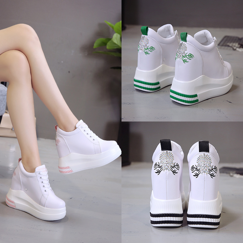 2019 Autumn Woman Height Increasing High Heels Platform Shoes Women Breathable Sneakers High Top White Casual Shoes 11 CM Heels