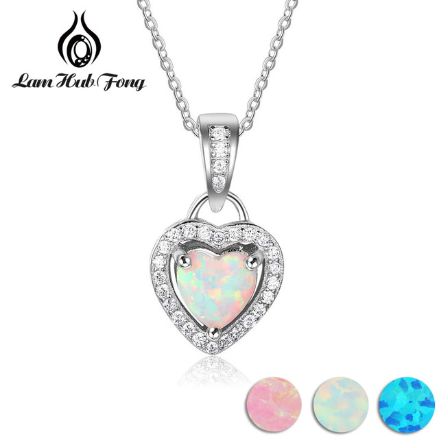 Heart Shape White Pink Blue Opal Necklaces & Pendants with Cubic Zirconia 925 St