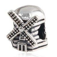Cối xay gió Charm Bead Gốc 100% Authentic 925 Sterling Silver Beads fits Pandora Charms bracelets & Necklaces