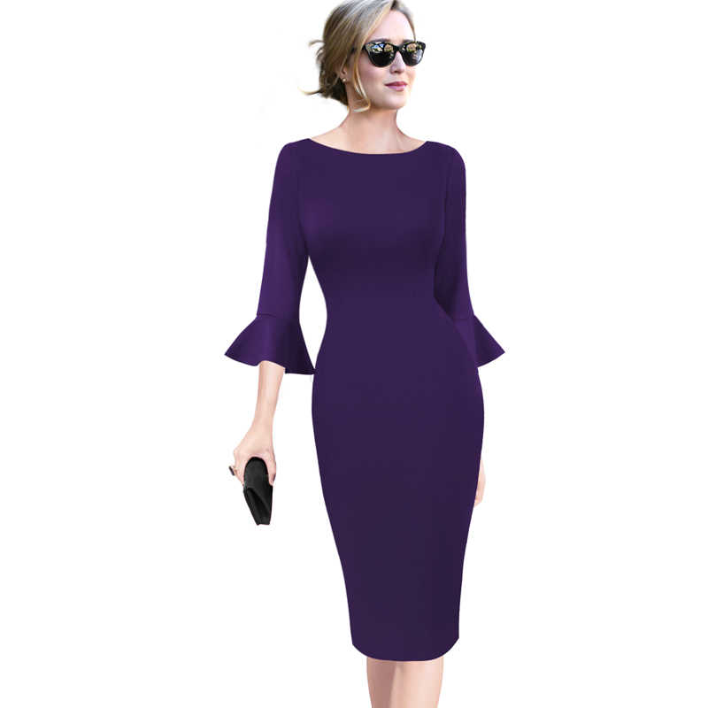 Vfemage Womens Elegante Vintage Flare Bell Mouwen Lace Print Business Casual Werk Office Cocktail Party Bodycon Schede Jurk 1599