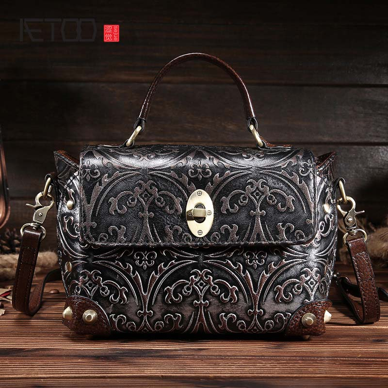 AETOO brand The new retro hand-rubbed the first layer of leather shoulder bag leather handbag casual simple messenger bag women famous brand top leather handbag bag 2018 new big bag shoulder messenger bag the first layer of leather hand bag