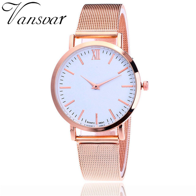 Vansvar Brand Fashion Rose Gold Mesh Band Wrist Watch Luxury Women Silver Quartz
