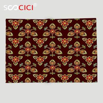 Custom Soft Fleece Throw Blanket Antique Classical Floral Arabesque Islamic Pattern in Vibrant Colors Artsy Image Gold Chestnut