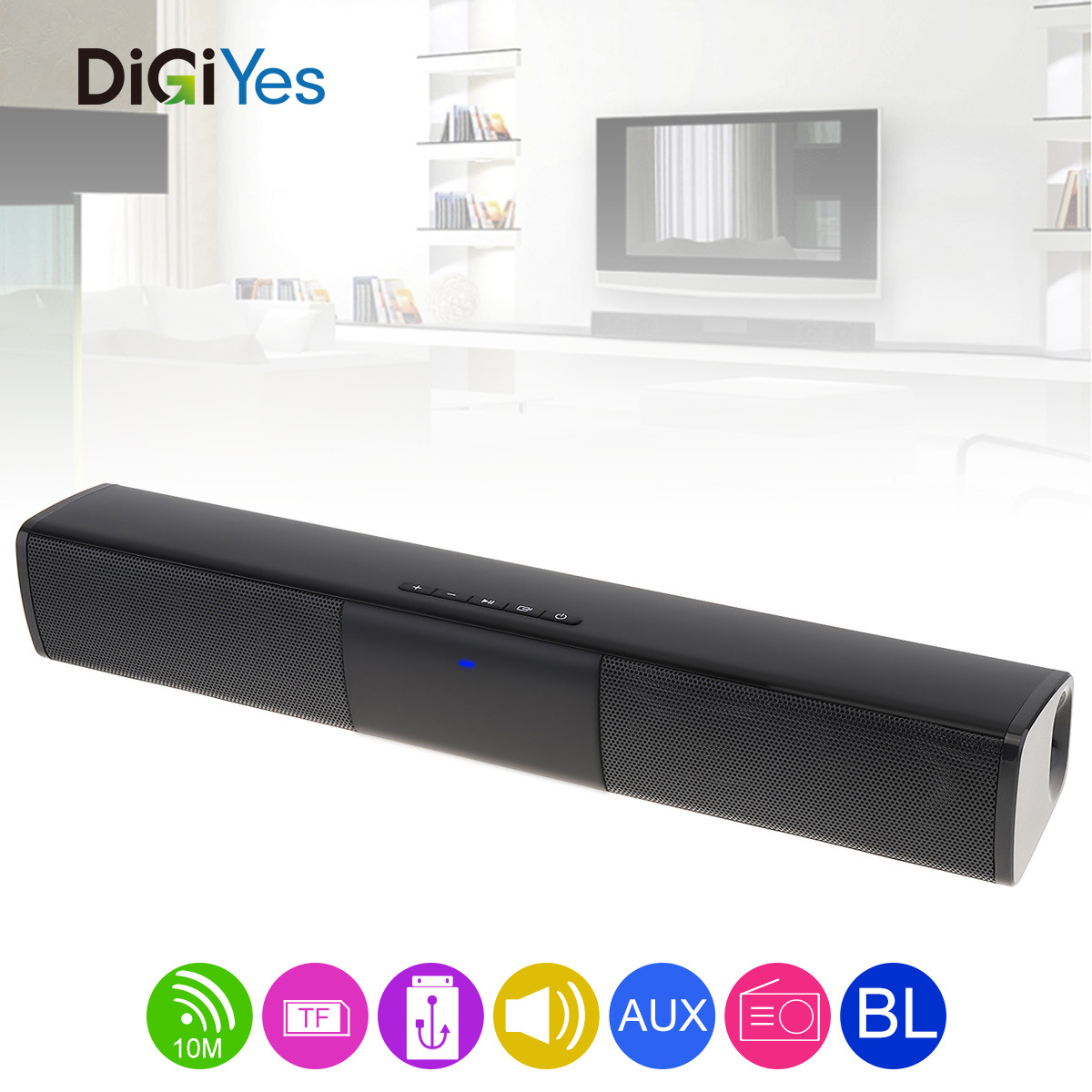 Portable Meeting Multi Function Bluetooth Soundbar Speaker with 2 Full Range Horns Support TF Card FM function for PC/TV/Phone