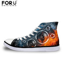 FORUDESIGNS Cool Fire Fashion Design Canvas Shoes for Men Spring 3D Sound Prints Classic High Top Vulcanized Shoes Lace-up Flats